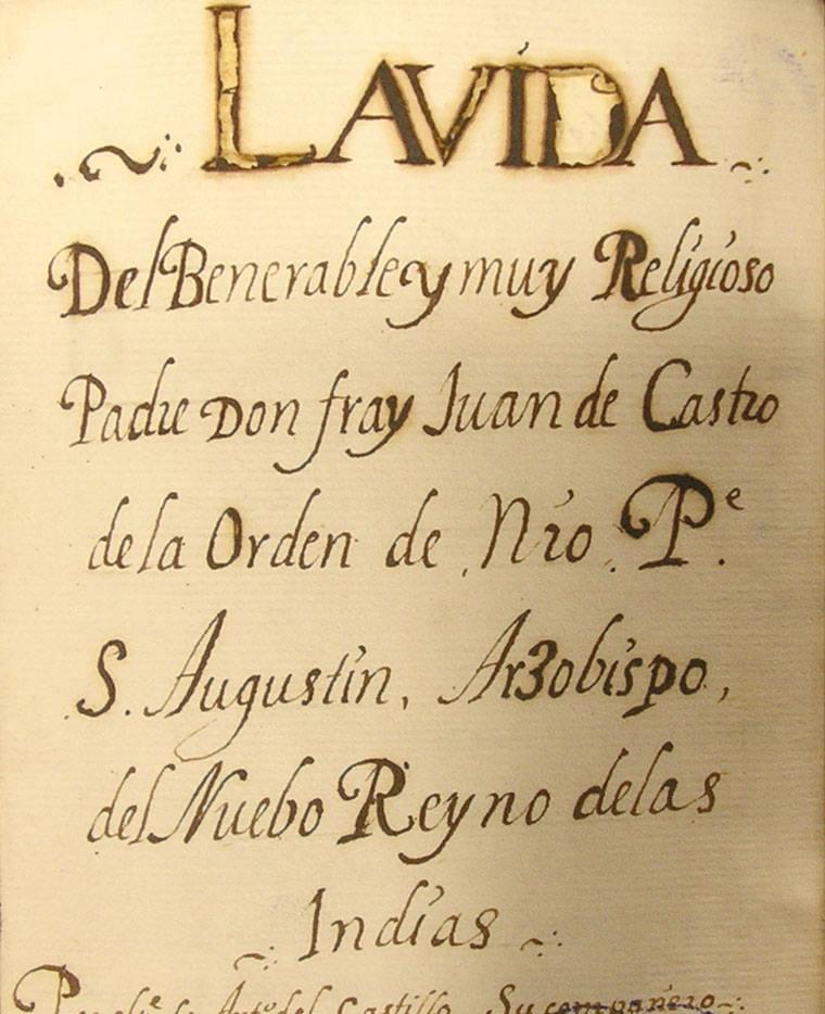 Un manoscritto sulla vita di Padre Juan de Castro